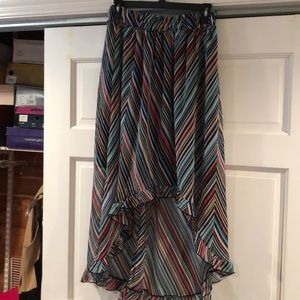 High low multi color skirt